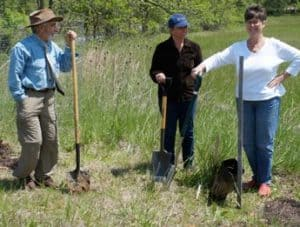 Planting American chestnuts at the Phillips Farm, May 2014. John LaMonica (American Chestnut Association), Liz Hale (Waterford Citizens' Association), and Margaret Good (Waterford Foundation)